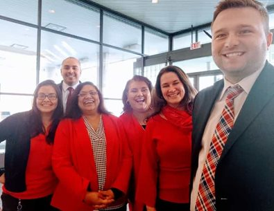 Wearing red for Go Red Day in February is a company tradition.